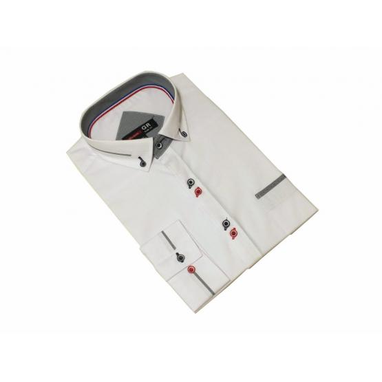 Elegancka koszula męska biała slim kolorowe wykończenia