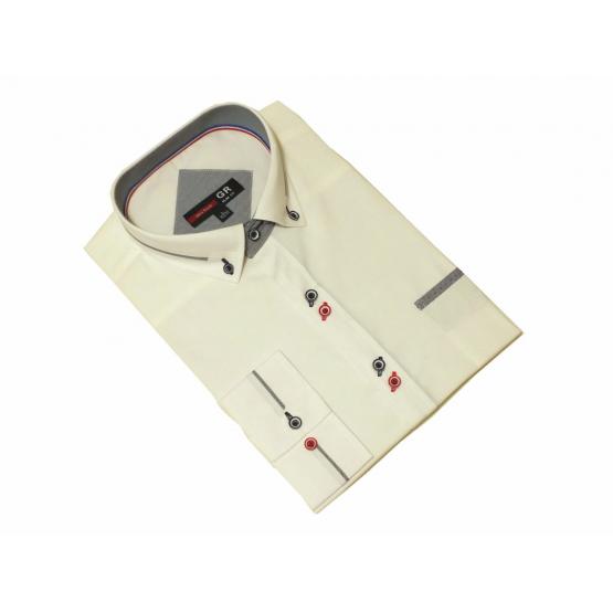 Elegancka koszula męska kremowa/ecru slim wykończenia