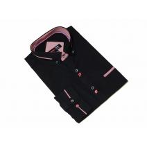Elegancka koszula męska czarna slim kolorowe wykończenia