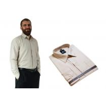DUŻA koszula męska bawełniana beżowa Laviino