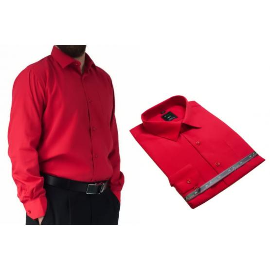 Wizytowa koszula męska do garnituru czerwona z długim rękawem.