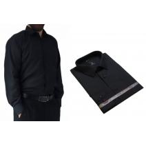 Wizytowa koszula męska czarna elegancka Laviino dl93 bawełniana