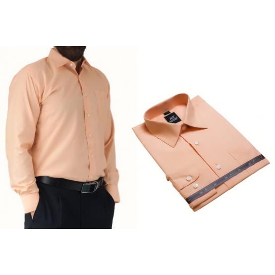 Koszula męska pomarańczowo morelowa Laviino dl95  hr0A4