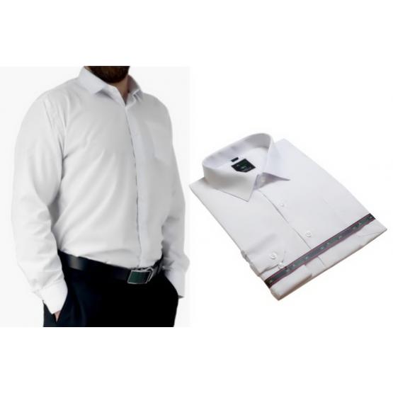 DUŻA koszula męska biała gładka z długim rękawem bawełniana Lanvino