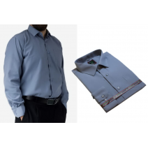 Duża koszula męska elegancka szara gładka Laviino