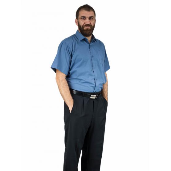 Stalowa koszula męska krótki rękaw duże rozmiary elegancka