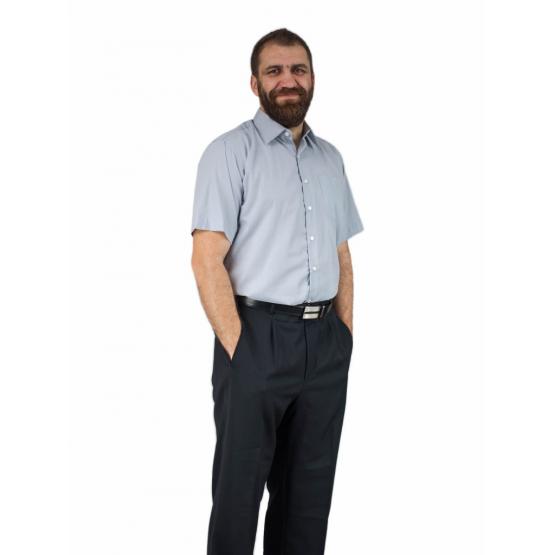 Popielata koszula męska krótki rękaw duże rozmiary elegancka