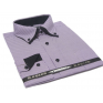 Koszula męska z podwójnym nakładanym kołnierzykiem fioletowa w jasne paski