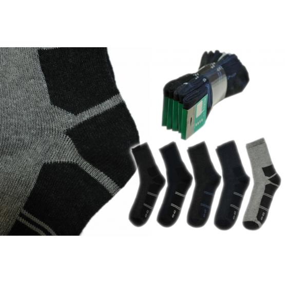 Skarpety sportowe dwukolorowy wzór bawełniane polskie mix 5 par