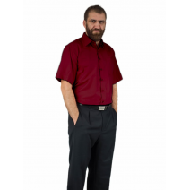 Elegancka koszula męska bordowa krótki rękaw