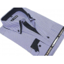 Koszula męska z podwójnym nakładanym kołnierzykiem niebieska w jasne paski