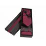 Komplet wąski krawat poszetka i spinki czerwony