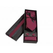 Komplet krawat poszetka i spinki ciemno czerwony bordowy