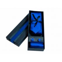 Komplet krawat poszetka i spinki niebieski chabrowy
