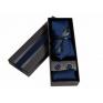 Komplet krawat poszetka i spinki granatowy
