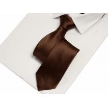 Krawat klasyczny brązowy