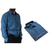 ELEGANCKA koszula męska stalowa-popielata do garnituru.