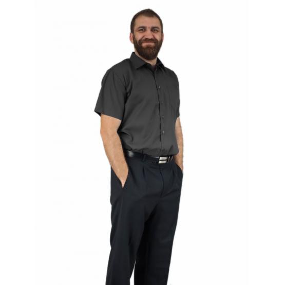 Grafitowa koszula męska krótki rękaw duże rozmiary elegancka