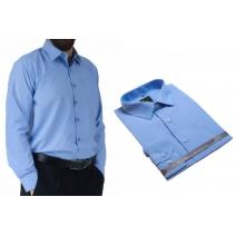 Wizytowa koszula męska niebieska indygo Laviino dl65