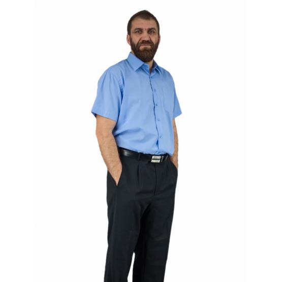 Elegancka duża koszula męska niebieska indygo bawełna duże rozmiary.