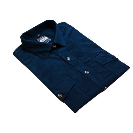 Koszula męska sztruksowa jasno-granatowa ciemnoniebieska