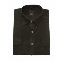 Koszula męska sztruksowa ciemnozielona gładka