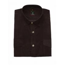 Koszula męska sztruksowa brązowa gładka
