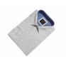 Elegancka koszula męska lekki slim biała w czarno-niebieski wzorek