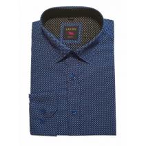 Elegancka koszula męska lekki slim granatowa biało-niebieski wzorek