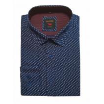 Elegancka koszula męska lekki slim granatowa wzór listki