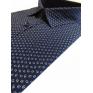 Elegancka koszula męska lekki slim granatowa wzór biały liść listki