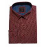 Elegancka koszula męska lekki slim bordowa wzór listki liść