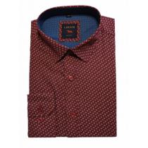 Elegancka koszula męska lekki slim bordowa wzór listki