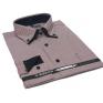 Koszula męska z podwójnym nakładanym kołnierzykiem brązowa w jasne prążki