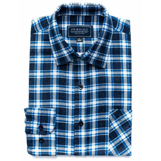 Męska koszula flanelowa w biało-niebiesko-granatową kratkę