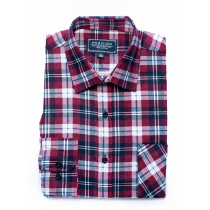 Koszula flanelowa bordowo-czerwona w białą kratę