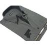 Koszula męska z podwójnym nakładanym kołnierzykiem czarna w jasne potrójne prążki