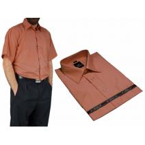 Elegancka koszula męska RUST rdza ruda blado ceglasta z krótkim rękawem