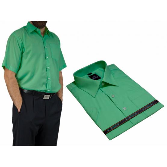 Elegancka koszula męska zielona intensywna mięta z krótkim rękawem