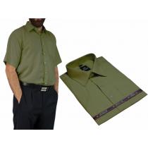 Elegancka koszula męska kolor oliwkowy zielony krótkim rękawem