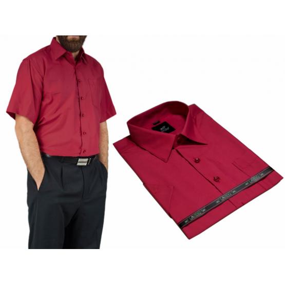 Elegancka koszula męska kolor czerwony czerwone wino krótkim rękawem