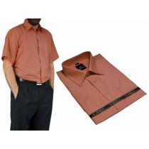 DUŻA koszula męska RUST rdza ruda blado ceglasta z krótkim rękawem DUŻE ROZMIARY