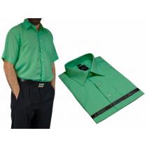 Duża koszula męska zielona intensywna mięta z krótkim rękawem duży rozmiar