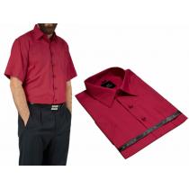 Duża koszula męska kolor czerwony czerwone wino krótkim rękawem duży rozmiar