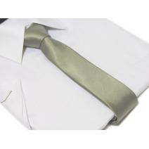 Krawat-ŚLEDŹ SREBRNO-POPIELATY gładki lekko błyszczący