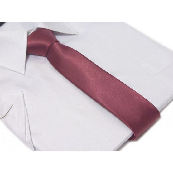 Krawat-ŚLEDŹ kolor FUKSJA jednokolorowy lekko błyszczący